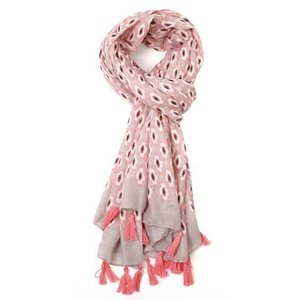 M&K Collection Schal Geo Tassel pink