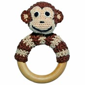 Sindibaba Rattle Monkey on wooden ring brown