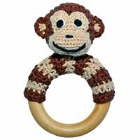 Sindibaba Rattle Monkey on wooden ring brown