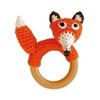 Sindibaba Rattle Fox on wooden ring orange