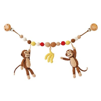 Sindibaba Monkey stroller brown with rattle