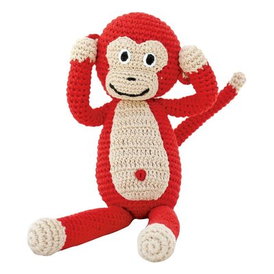 Sindibaba Monkey with rattle, red