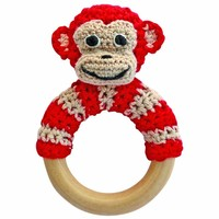 Sindibaba Rattle Monkey on wooden ring red