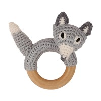 Sindibaba Rattle Fox on wooden ring grey