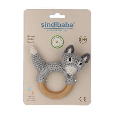 Sindibaba Rattle Fox on wooden ring grey