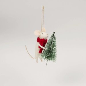 Sass & Belle Hanging Decoration Mouse With Christmas Tree