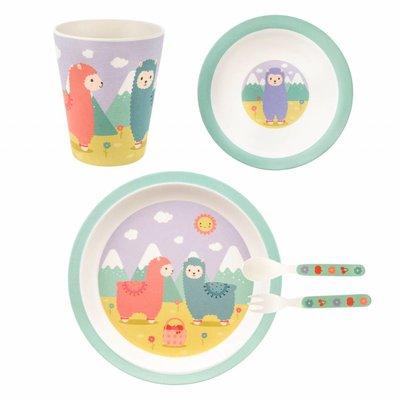 Sass & Belle Children's dinnerware set Bamboo Little Llama