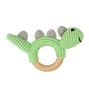 Sindibaba Rattle Dino on wooden ring green