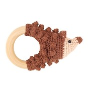 Sindibaba Rattle Hedgehog on wooden ring brown