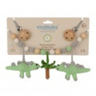 Sindibaba Stroller chain Dino green with rattle