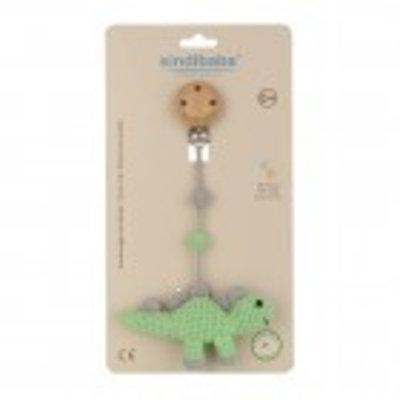Sindibaba Pram clip with rattle Dino green
