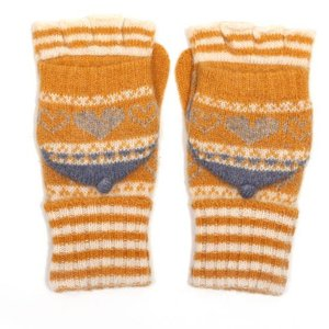 M&K Collection Handschuhe Heart/Stripes mustard