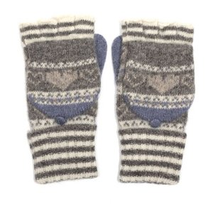 M&K Collection Handschuhe Heart/Stripes grey
