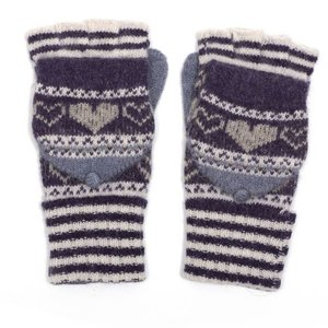 M&K Collection Gloves Heart/Stripes purple
