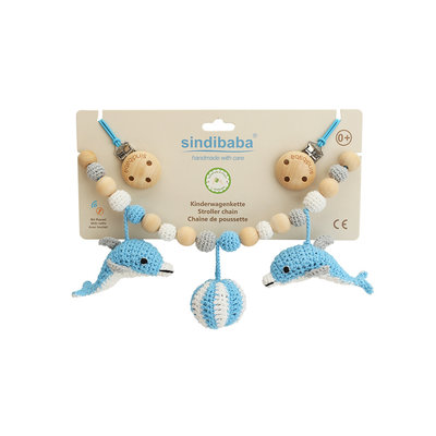 Sindibaba Stroller chain Dolphin blue/white with rattle