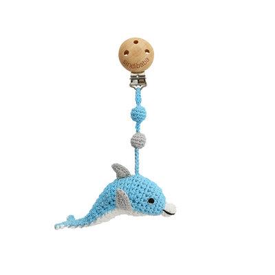 Sindibaba Kinderwagen-Clip mit Rassel Dolphin blue-white