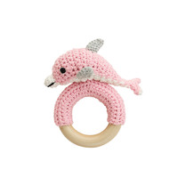 Sindibaba Rattle Dolphin on the wooden ring Rose