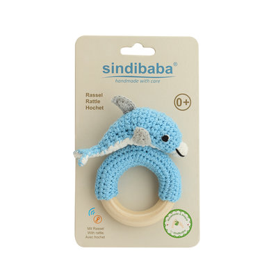 Sindibaba Rattle Dolphin on the wooden ring Blue