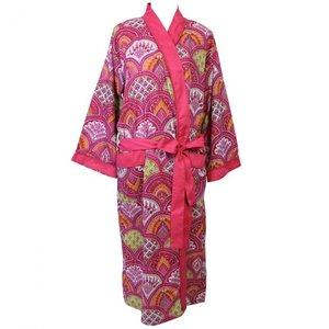Powell Craft Dressing gown Rapsberry Paisley
