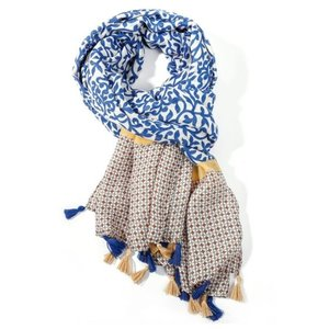 M&K Collection Scarf Tassel Leaves denim