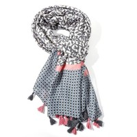 M&K Collection Scarf Tassel Leaves grey