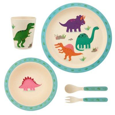 Sass & Belle Children's dinnerware set Bamboo Dinosaurs