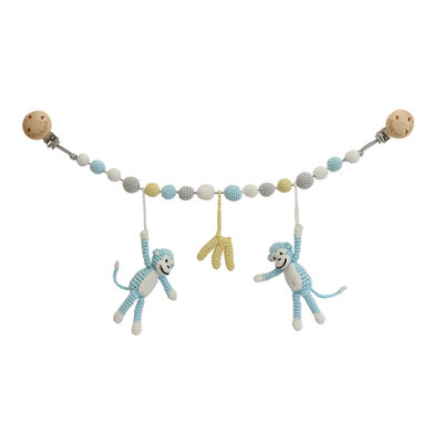 Sindibaba Stroller chain Monkey  blue with rattle