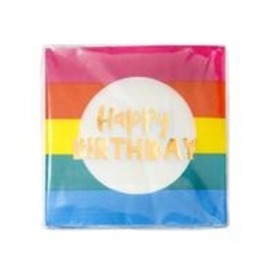 Talking Tables Paper Napkins Rainbow Happy Birthday