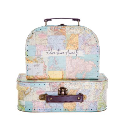 Sass & Belle Suitcase Vintage Map Collage Set of 2