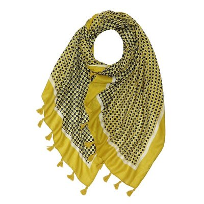 M&K Collection Schal Tassel Mini Squares mustard