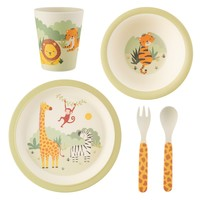 Sass & Belle Children's dinnerware set Bamboo Savannah Safari