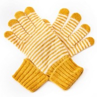 M&K Collection Gloves Tiny Stripes mustard