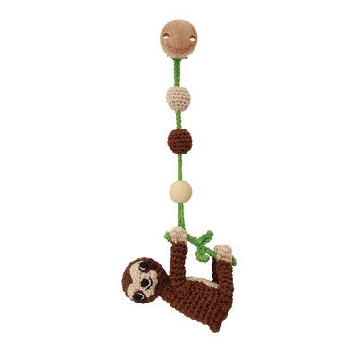 Sindibaba Baby Carriage Clip  /rattle with Sloth Brown