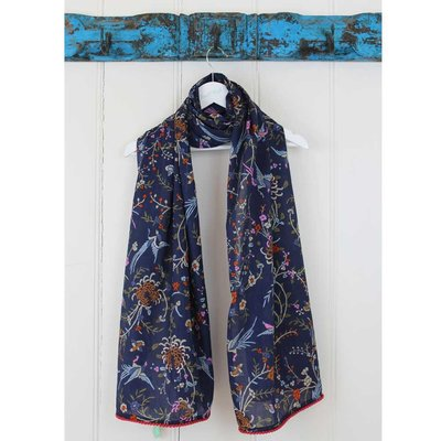 Powell Craft Scarve Cotton Navy Floral