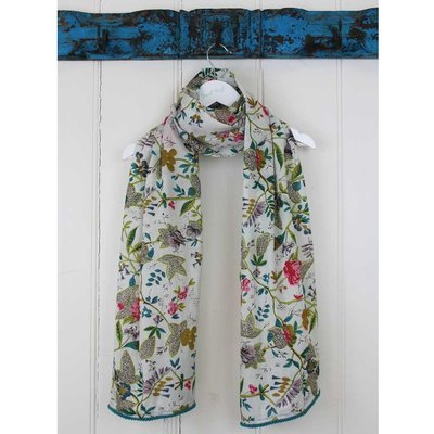Powell Craft Scarve Cotton White Leaf