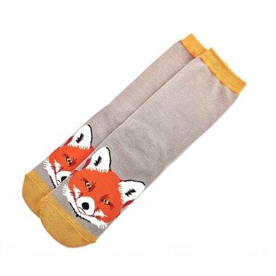 Miss Sparrow Socken Bamboo Fox Face grey