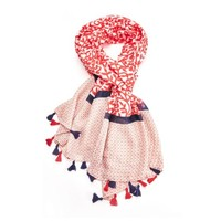 M&K Collection Scarf Tassel Leaves red