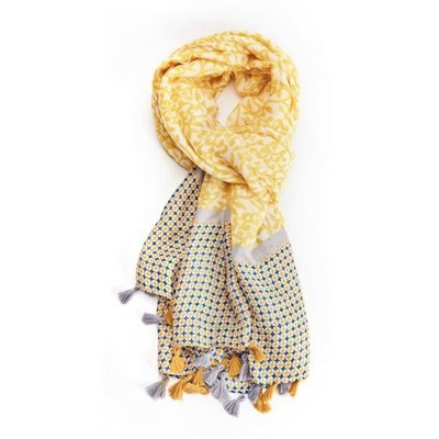 M&K Collection Scarf Tassel Leaves yellow