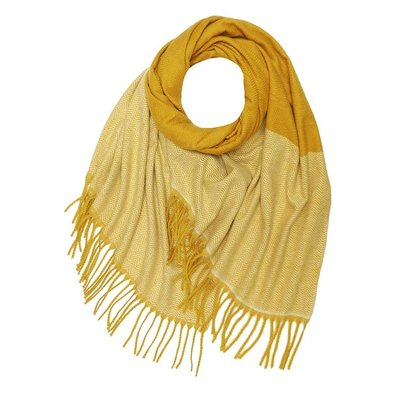 M&K Collection Scarf Cashmere Mix Zigzag mustard