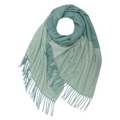M&K Collection Scarf Cashmere Mix Zigzag teal