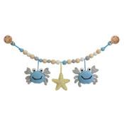Sindibaba Kinderwagenkette Krabbe blau/grau mit Rassel