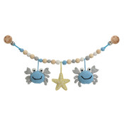 Sindibaba Stroller chain Crab blue / grey with rattle