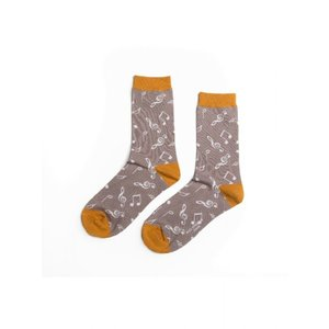 Miss Sparrow Socks Bamboo Music grey