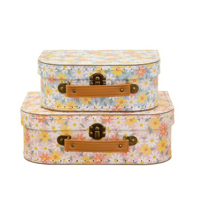 Sass & Belle Suitcase Pink Daisy Set of 2