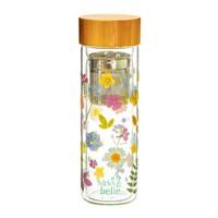 Sass & Belle Glass-Wasserflasche mit Infuser Pressed Flowers