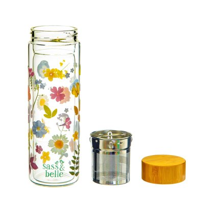 Sass & Belle Glass water bottle with Infuser Pressed Flowers