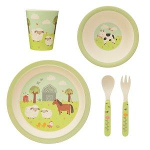 Sass & Belle Children's dinnerware set Bamboo Farmyard Friends