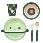 Sass & Belle Kindergeschirr Set Bamboo Space Explorer