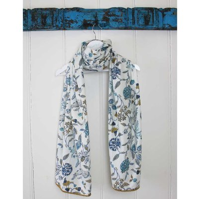 Powell Craft Scarve Cotton Floral Blue/White