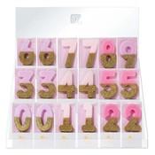 Talking Tables Display mit 60 Glitzerkerzen pink